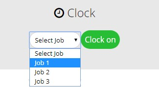 Selecting a job when clocking on