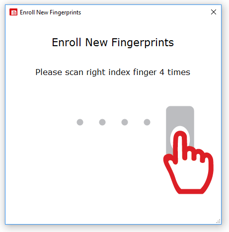 Enroll a new fingerprint into Microkeeper Timesheets