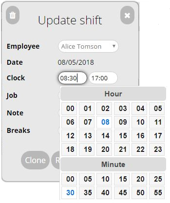 Adjusting Timesheet Entry