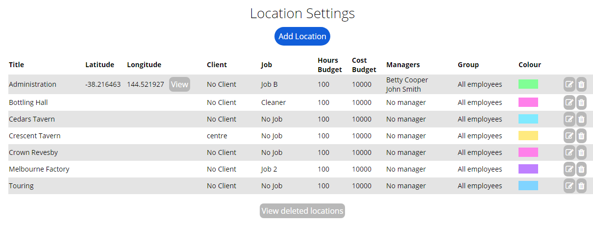 Location Settings Delete Locations