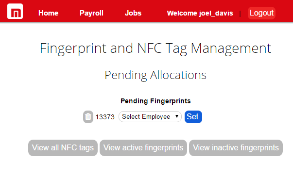 Assign fingerprint NFC to employee