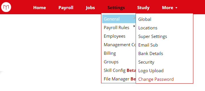 Payroll Menu Settings