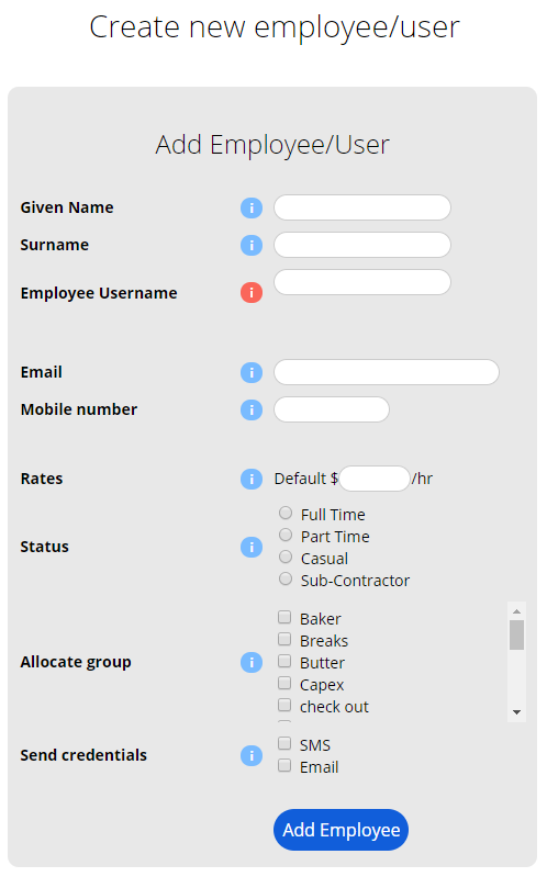 Add Employee New user Form