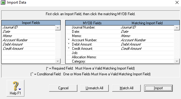 Import Fields MYOB