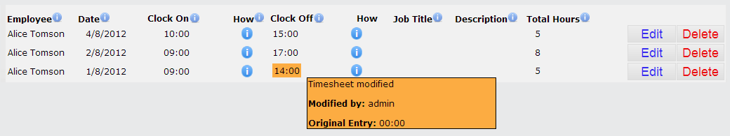 Timesheet view