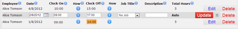 Edit a timesheet entry