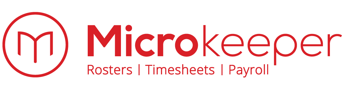 Microkeeper logo with slogan Roster Timesheet Payroll